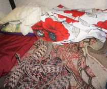 Mixed Lot of Flags, Curtains and Textiles, To include a Persian Salt Sack, 121cm x 81cm, Large