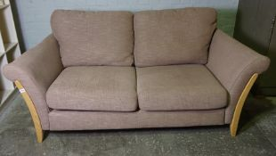 Ercol Beech Framed Upholstered Two Seater Sofa, Upholstered in a Fawn Fabric, 71cm high, 186cm wide