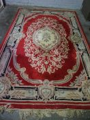 Chinese Style Rug, On a Red Ground, 280cm x 186cm, Also with a smaller example, (2)