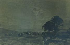 "Tom Scott RSA RSW (Scottish 1854-1927) ""Hayfield in Ettrick"" Signed Black and White Print, Signed"