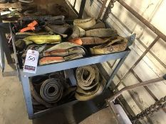 LOT OF ASS'T RIGGING STRAPS W/ PORT. CART