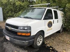 2010 CHEVY EXPRESS G1500 CARGO VAN, AT, AC, 4.3L - V6 ENGINE, W/ SAFETY CAGE, SHELVING, LADDER RACK,