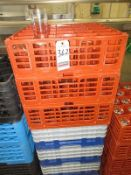 WATER GLASSES W/ (7) POLY DISH RACKS & DOLLY