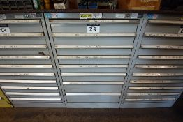 8 drawer cabinet containing assorted tooling