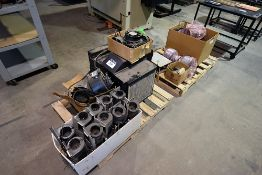 Pallets containing assorted machine parts, blowers, fans, and etc.