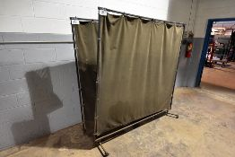 "Metal frame canvas welding screens, 69"" x 69"", w/ casters"