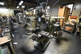 """Bridgeport Vertical Milling Machine s/n 12BR 192642, 1.5HP Motor, 42"""" Table, 6"""" Milling Vise"""