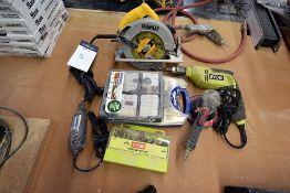 {LOT} Asstd Hand Tools: Circ saw, drill, dremmel, sander