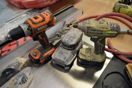 {LOT} Ridgid R860054 & Ryobi 18v Drills w/ Charger P235