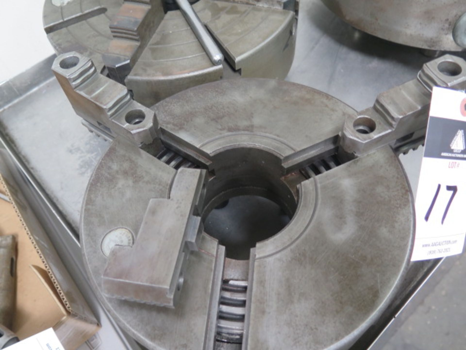 """Lotto 17 - 12 1/2"""" 4-Jaw Chuck and 10"""" 3-Jaw Chuck(NEEDS BASE GEAR)"""