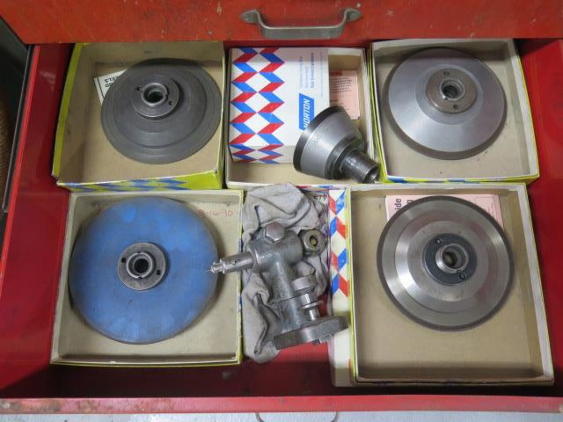 Lot 53A - Diamond Grinding Wheels and Roll-A-Way Tool Box