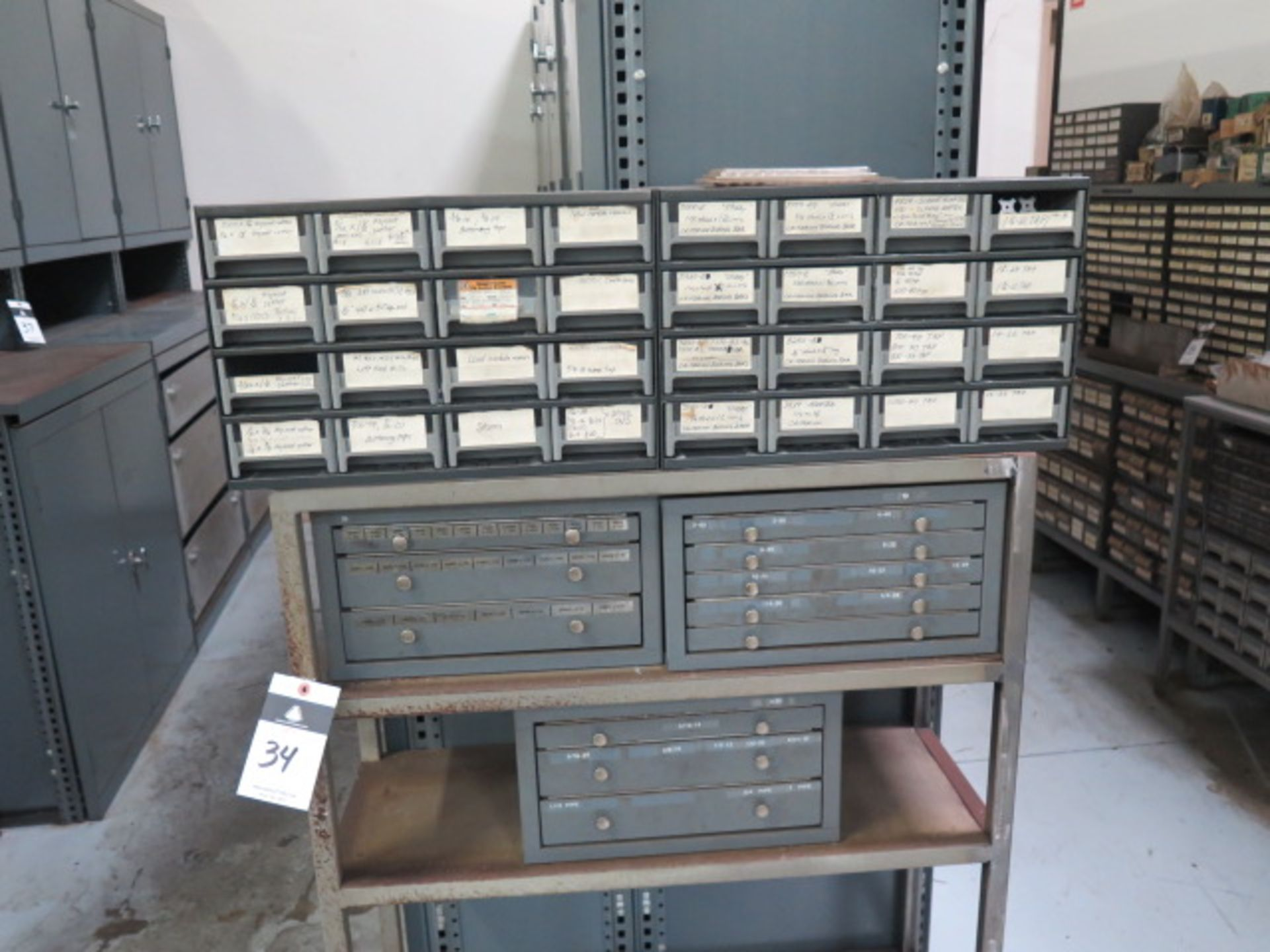 Lot 34 - Huot Tap Cabinets (3) and (2) Parts Cabinets w/ Taps and Stand