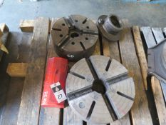 """15"""" 3-Jaw Chuck and 18"""" 4-Jaw Chuck (NEEDS Jaw Shoes) (SOLD AS-IS - NO WARRANTY)"""