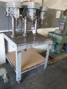 "Custom 3-Head Gang Drill Press w/ 36"" x 36"" Table (SOLD AS-IS - NO WARRANTY)"