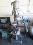 "Bridgeport Vertical Mill w/ 1Hp Motor, 80-2720 RPM, 8-Speeds, Power Feed, 9"" x 42"" Table (SOLD AS-IS"
