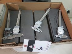 """Mitutoyo and Brown & Sharpe 6"""" Dial Calipers (4) (SOLD AS-IS - NO WARRANTY)"""