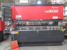 "Amada FBD-1030E 100 Ton x 10' CNC Press Brake s/n 1030518 w/ NC9-EX II, 118.1"" Table, SOLD AS IS"