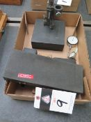 Granite Indicator Base, Dial Indicators, Fowler Dial Bore Gage and Indical Groove Gages (SOLD AS-