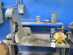 "Burr King mdl. 760 1 1/2"" Belt Sander and 6"" Bench Grinder w/ Bench (SOLD AS-IS - NO WARRANTY)"