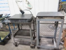 """18"""" x 24"""" x 4"""" Granite Surface Plates (2) w/ Carts (DAMAGED CORNERS) (SOLD AS-IS - NO WARRANTY)"""