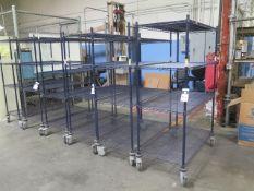 Nexel Rolling Wire Frame Shelves (6) (SOLD AS-IS - NO WARRANTY)