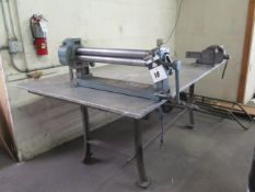 "Pexto mdl. 383D 36"" Hand Roll w/ 2"" Rolls, Eron 6"" Bench Vise w/ 48"" x 80"" x 3/4"" Table, SOLD AS IS"