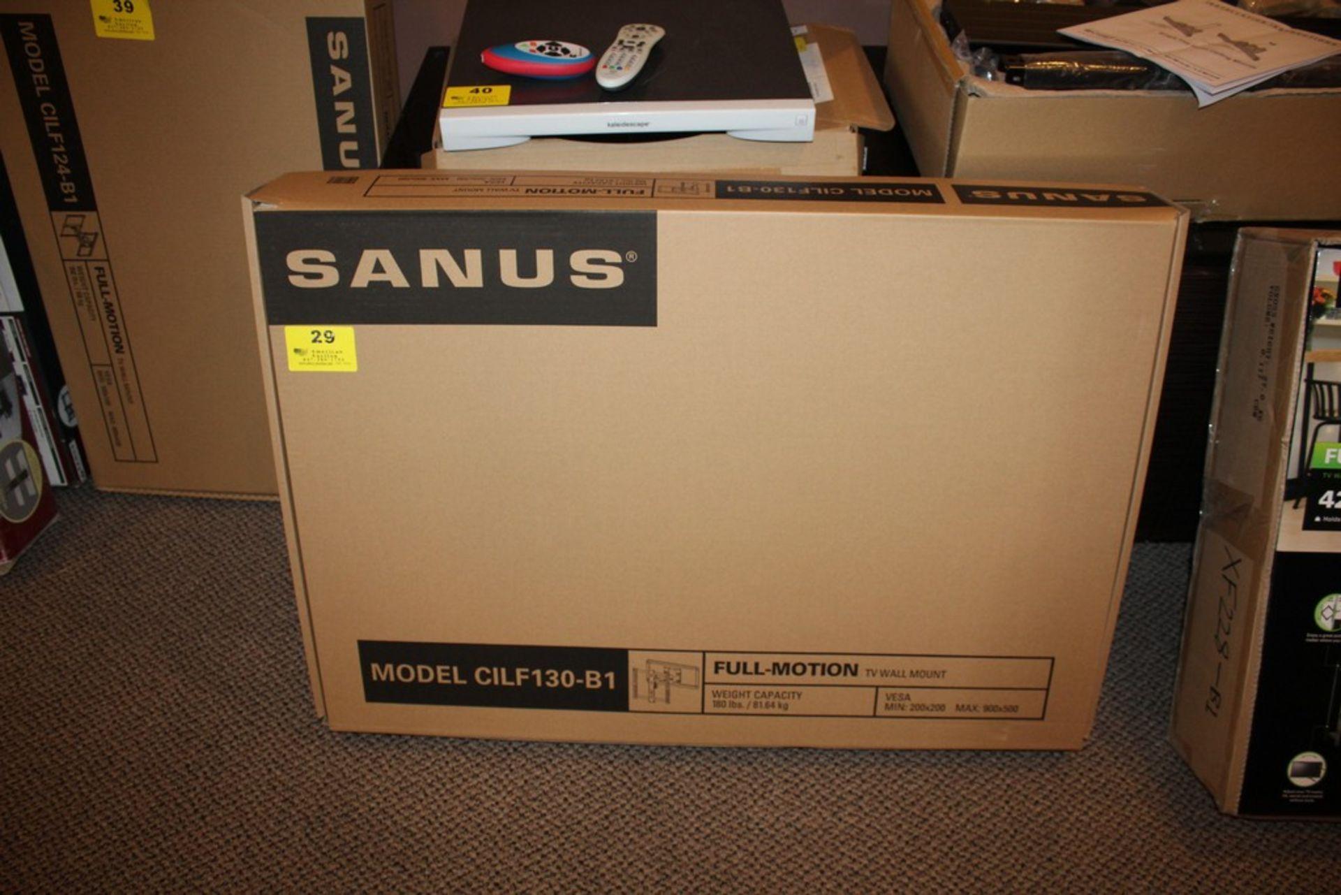 Lot 29 - SANUS MODEL CILF130-B1 FULL MOTION TV WALL MOUNT, VESA MIN: 200X200 & MAX: 900X500, UP TO 180LBS.