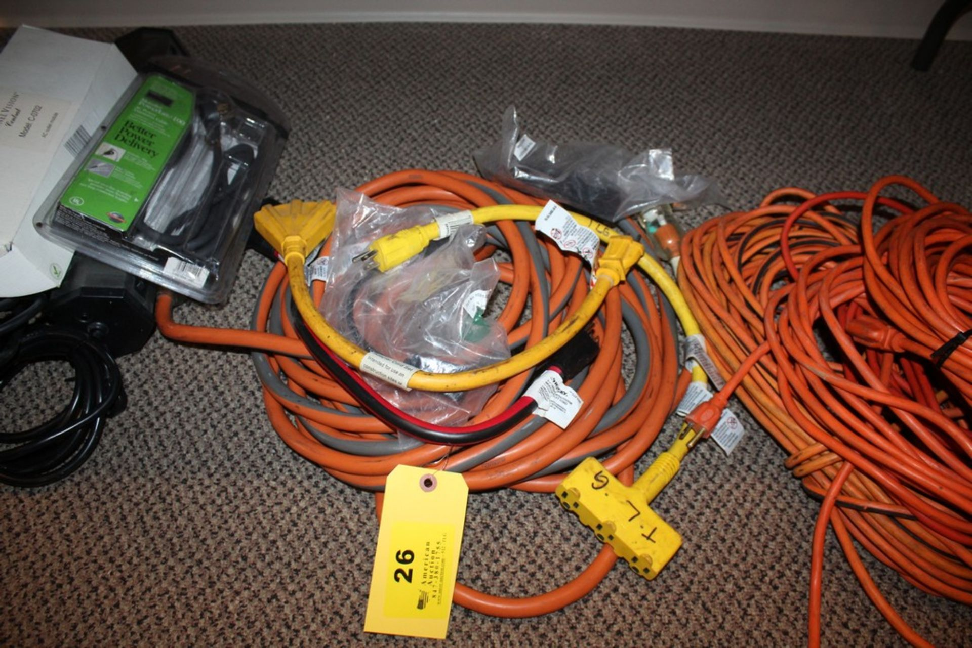 Lot 26 - HEAVY DUTY ELECTRICAL EXTENSION CORDS AND ADAPTER CORDS