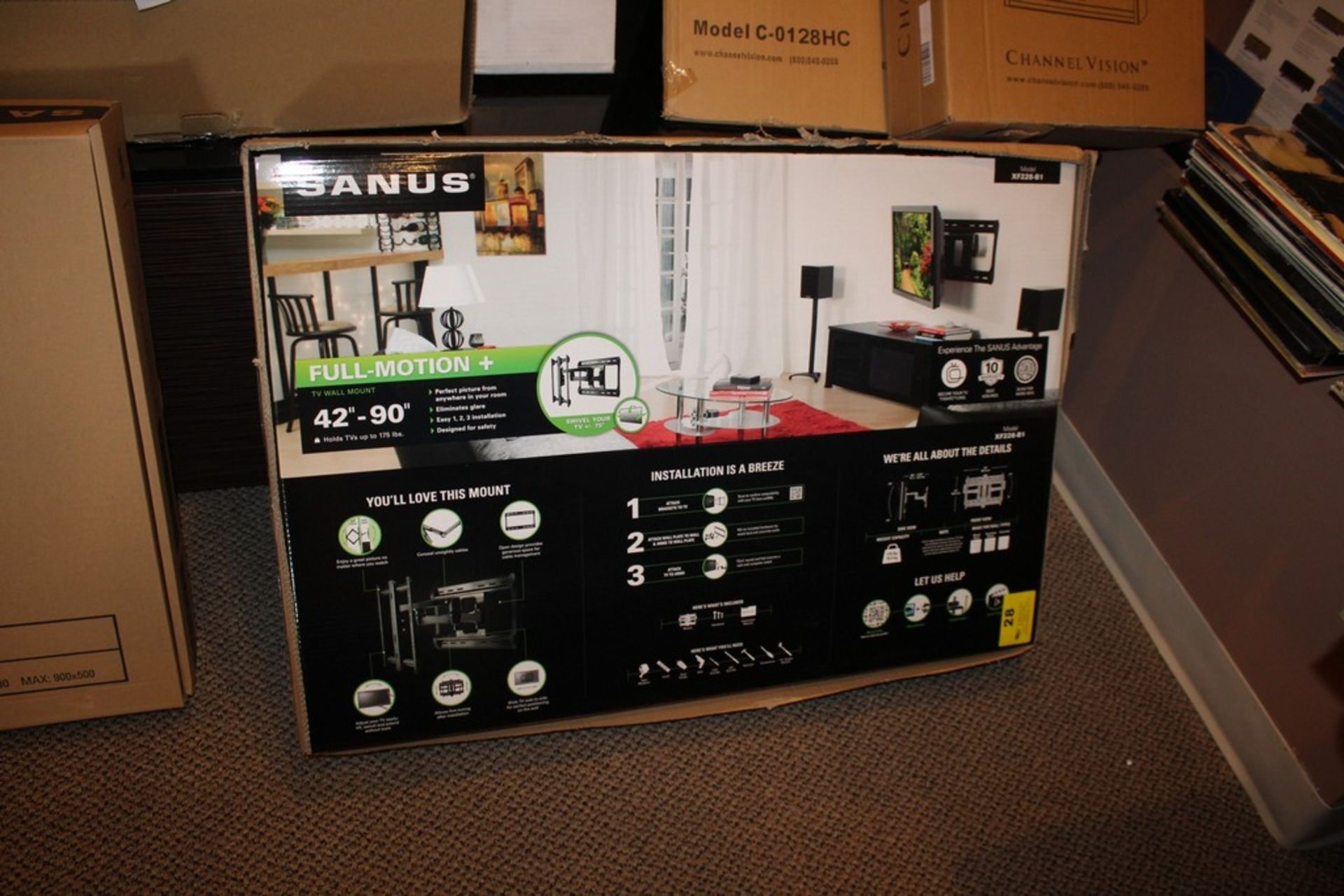 "Lot 28 - SANUS MODEL XF228-B1 FULL MOTION TV WALL MOUNT, 42"" TO 90"", UP TO 175LBS."