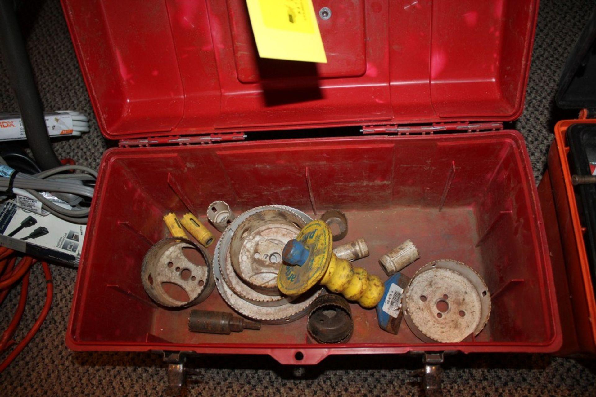 Lot 9 - LARGE MASONRY, BORING BITS AND HOLE SAWS IN TOOL BOX
