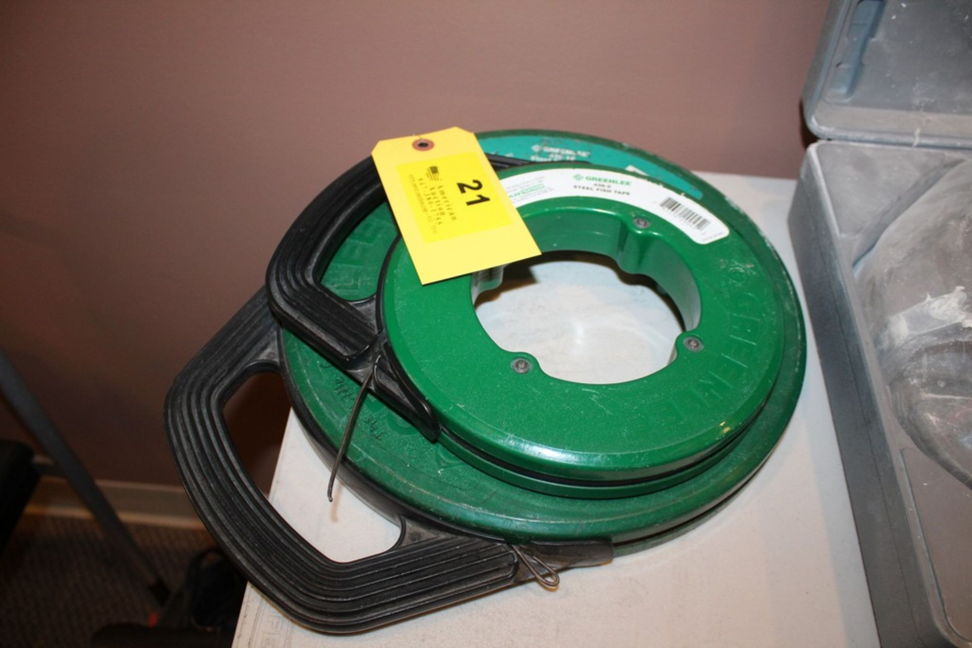 """Lot 21 - (2) GREENLEE STEEL FISH TAPES, MODEL 438-5 50'X1/8"""" AND MODEL 438-10 100'X1/8"""""""