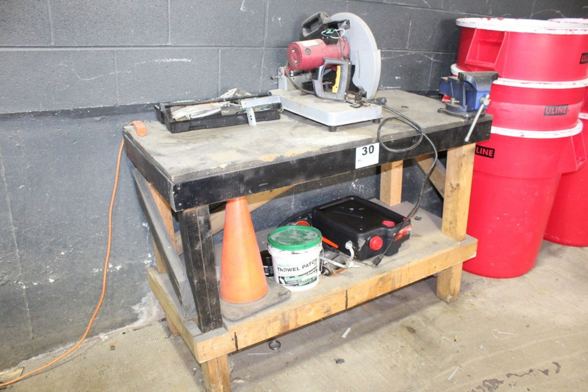 """Lot 30 - WORKBENCH-37"""" X 55"""" X 24"""" WITH 6"""" CENTRAL FORGE VISE AND CHICAGO ELECTRIC CHOP SAW"""