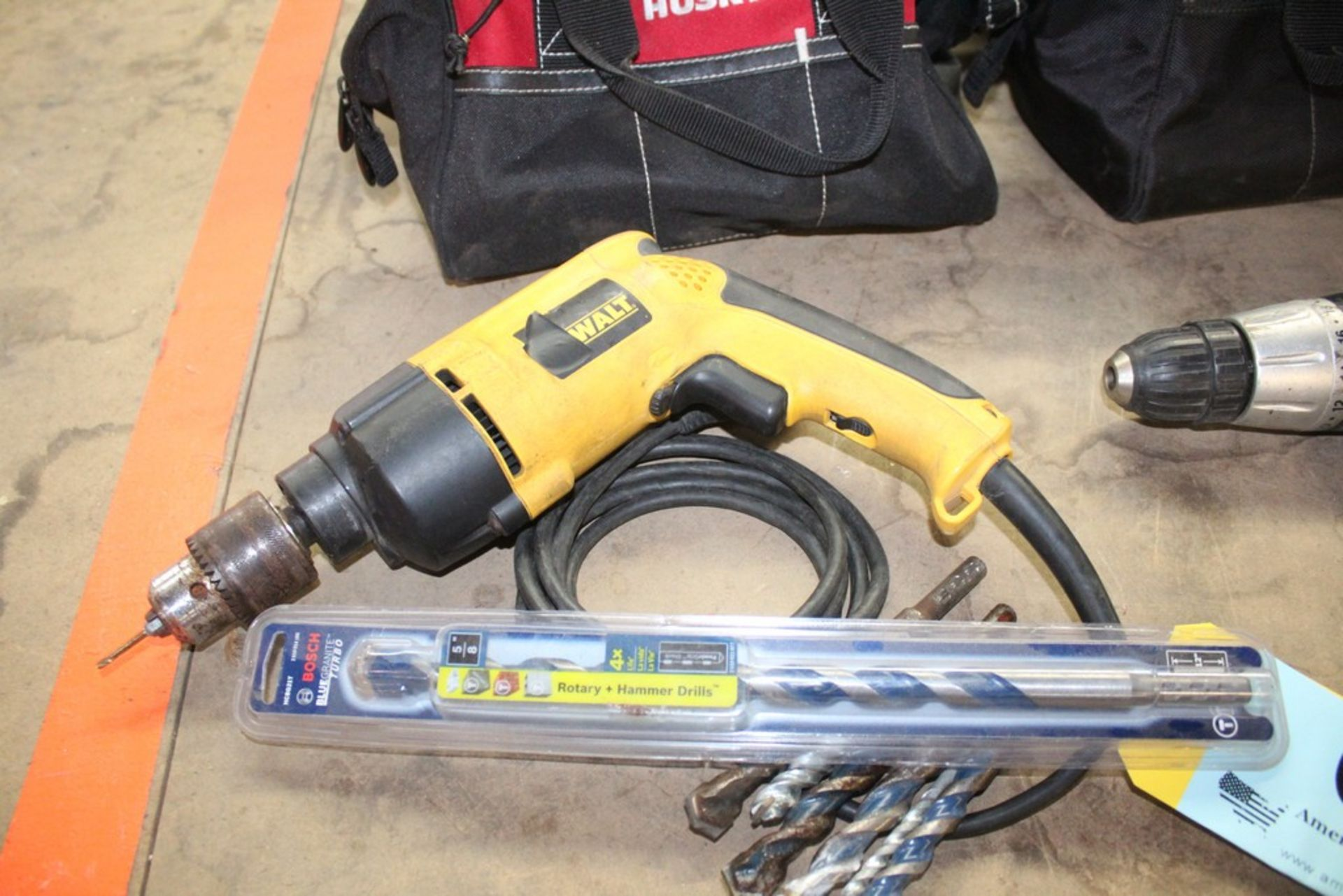 "Lot 6 - DEWALT MODEL DW511 1/2"" VSR HAMMER DRILL WITH CONCRETE BITS"