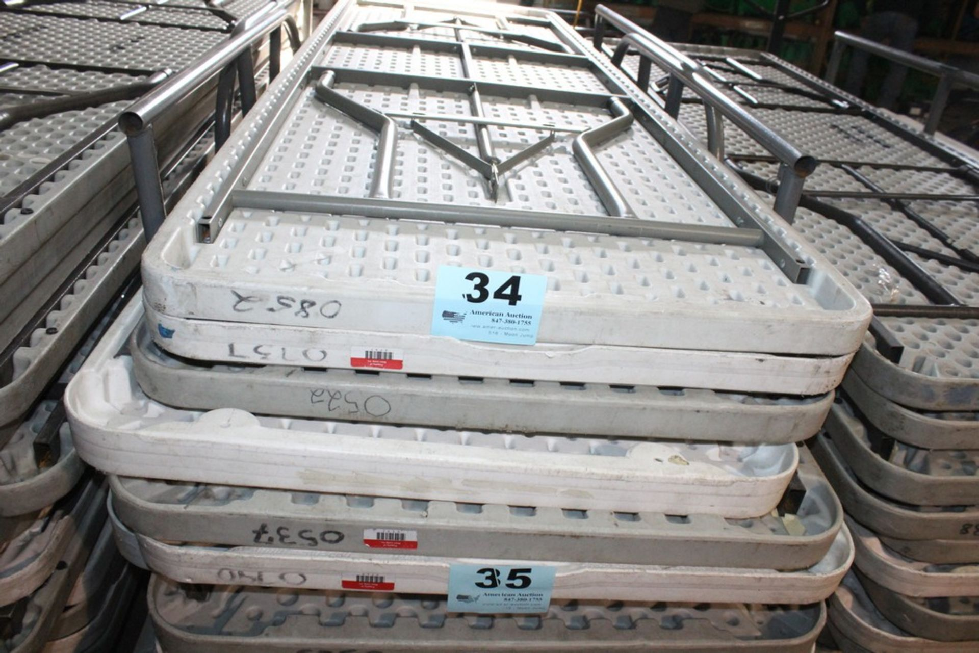 "Lot 34 - (5) PLASTIC FOLDING TABLES-96"" X 30"""