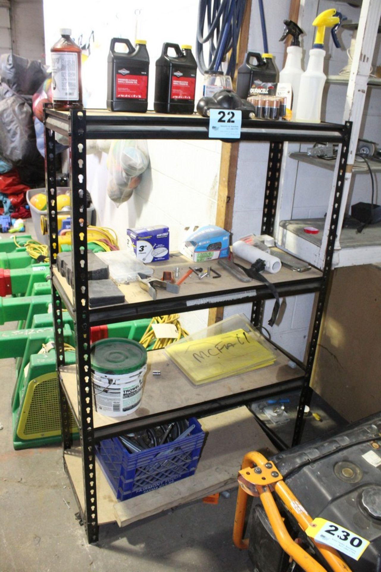"Lot 22 - STEEL SHELVING UNIT WITH CONTENTS-58"" X 36"" X 18"""