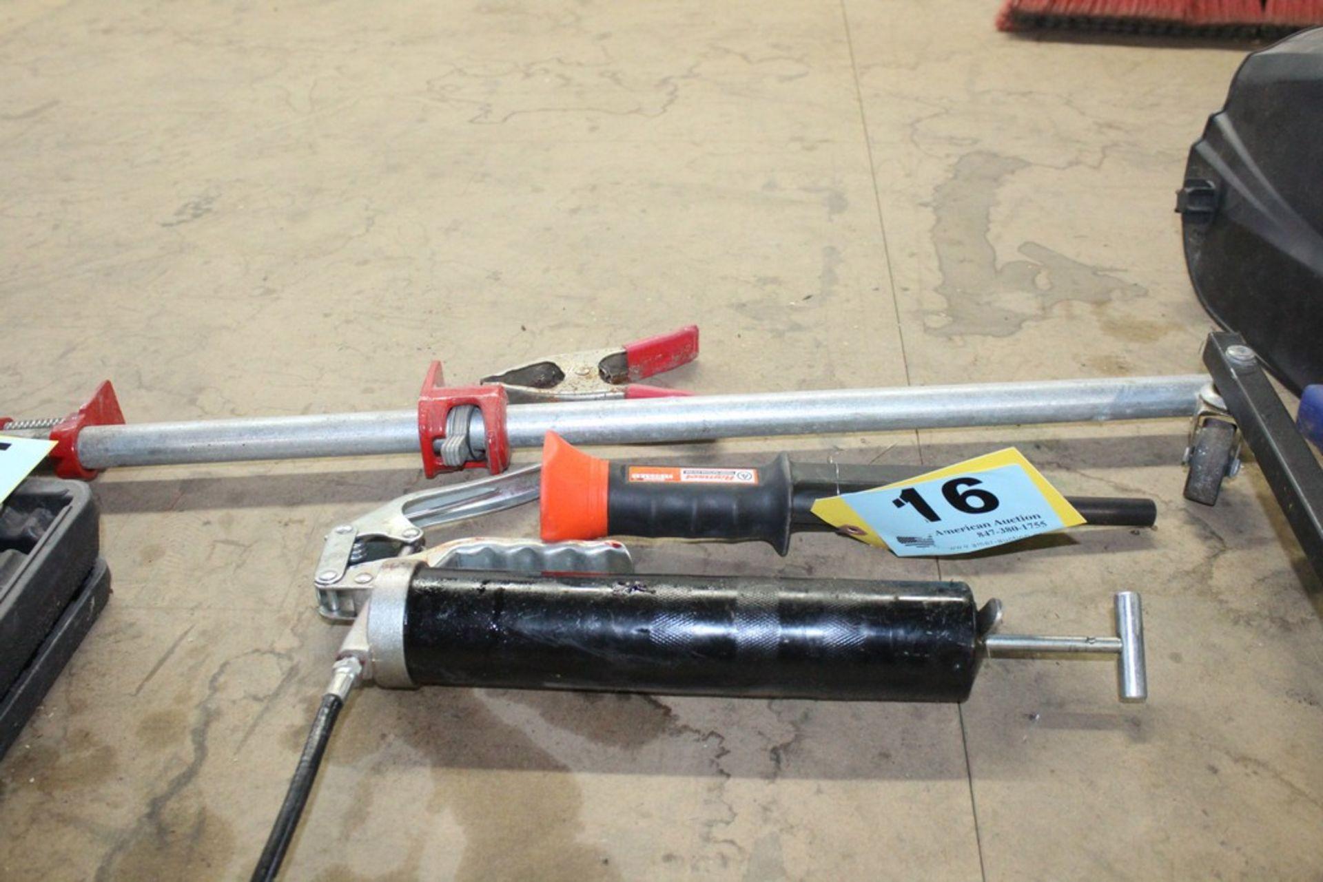 Lot 16 - RAMSET POWDER NAIL GUN, BAR CLAMP AND GREASE GUN