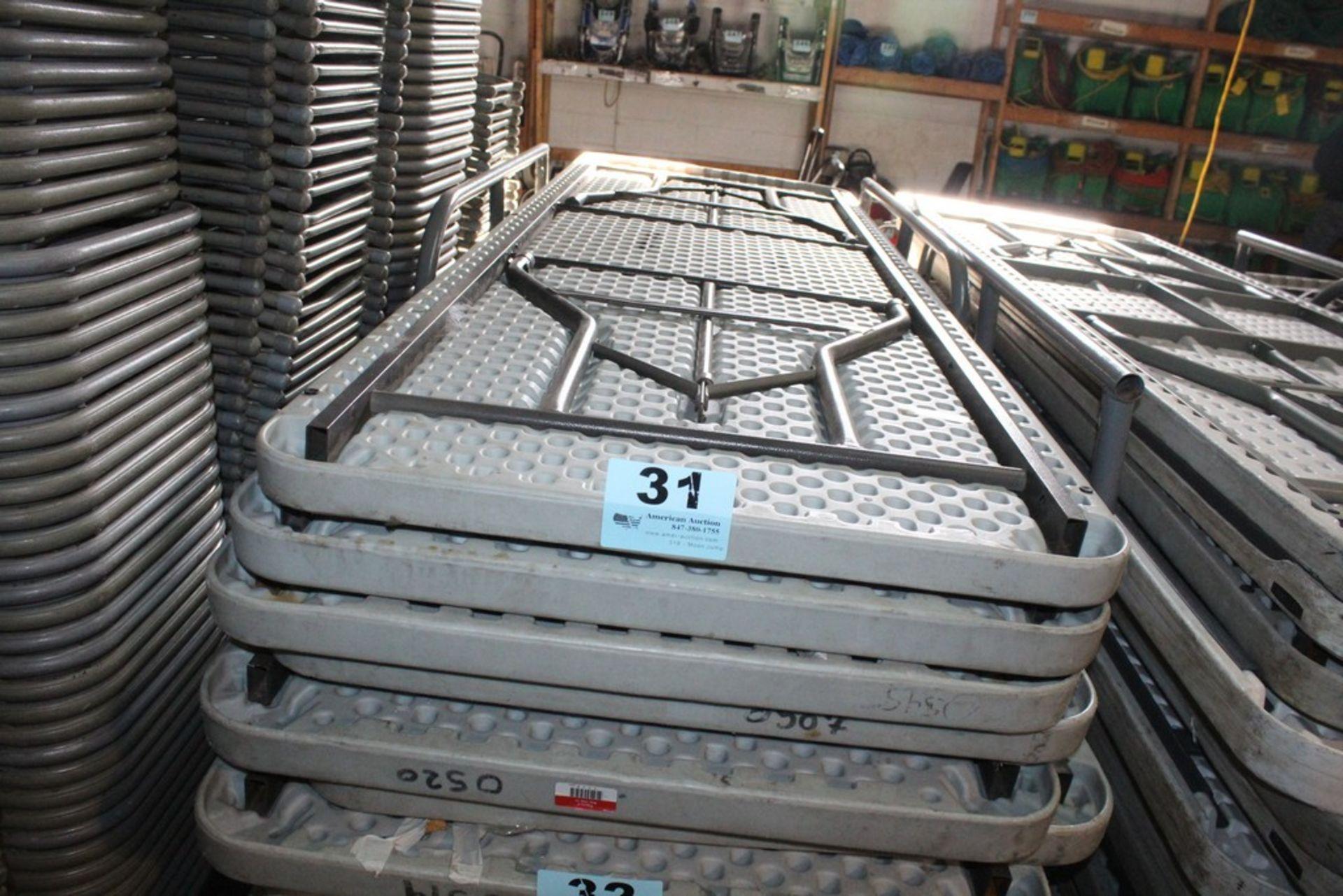 "Lot 31 - (5) PLASTIC FOLDING TABLES-96"" X 30"""