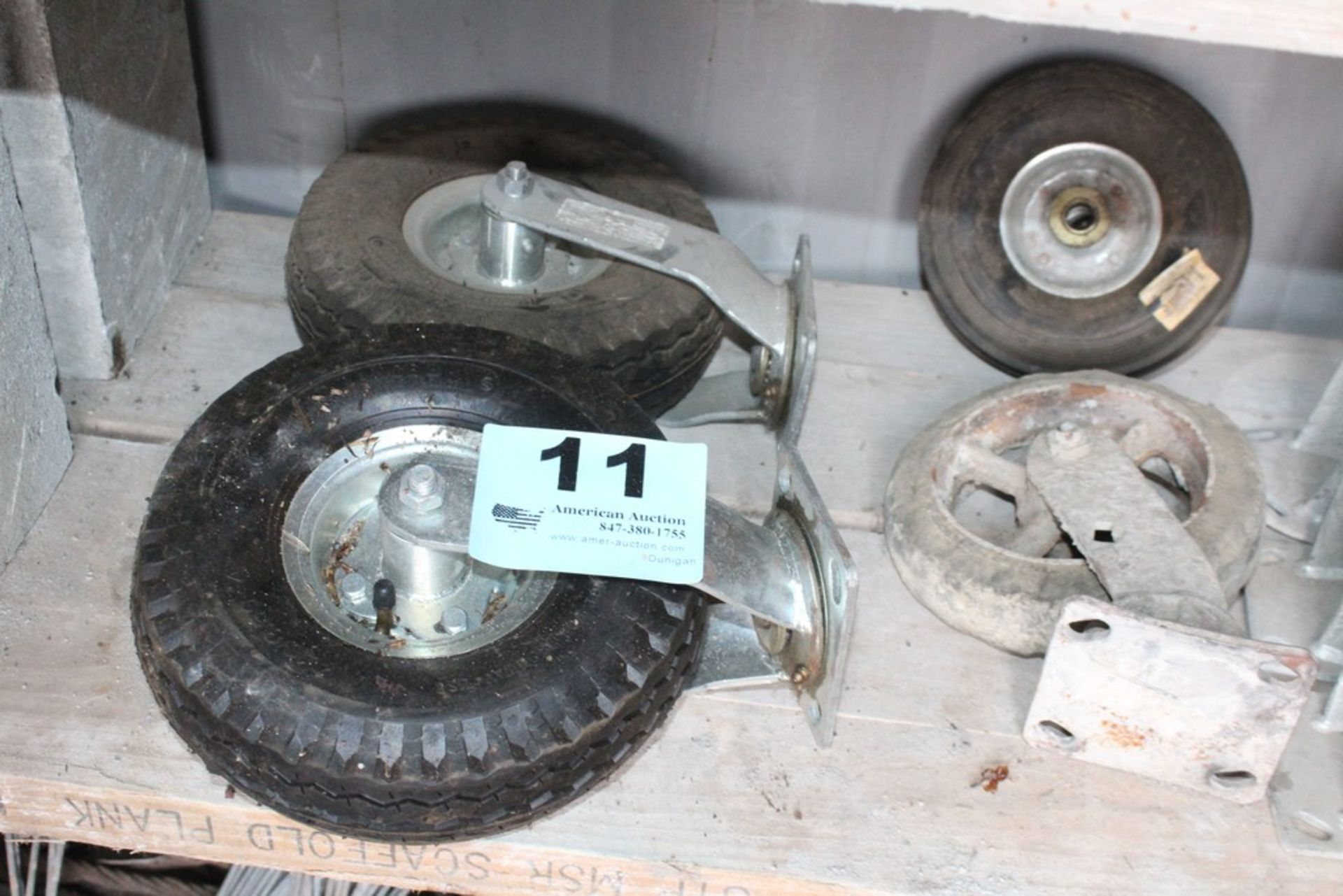 Lot 11 - ASSORTED WHEELS AND BRACKETS