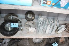 ASSORTED WHEELS AND BRACKETS