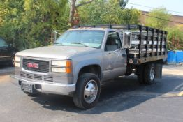 1999 GMC SIERRA 3500 DUALLY STAKE BED TRUCK, 7.4L V-8, VIN 1GDKC34J1XF056858, 109,255 MILES SHOWN ON