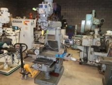 SHARP VERTICAL MILL W/2-AXIS DRO, POWER DRAW BAR, POWER FEED ON TABLE, MILL VISE, RUTLAND X-Y ROTARY