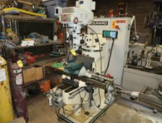 BIRMINGHAM VERTICAL MILL W/3-AXIS DRO, POWER FEEDS ON X, Y & Z. MILL VISE W/SWIVEL BASE