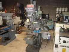 WEBB 5VK VERTICAL MILL W/2-AXIS DRO & MILL VISE, SN. 83479