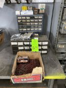 lot of parts bins, (2) bins of nuts & bolts , box nails
