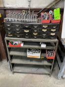 lot of parts bin , metal shelving unit and contents