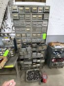 metal storage parts bin, and contents