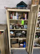 2 Door Metal 5-1/2 tall cabinet and contents