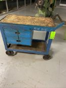Lot of of metal rolling cart, with two drawer and wood top
