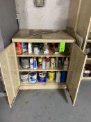 2 door metal cabinet and contents