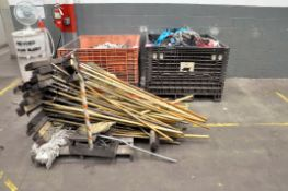 Lot-Cleanup Tools on (1) Pallet with Dirty Gloves and Rags in (2) Collapsible Tubs